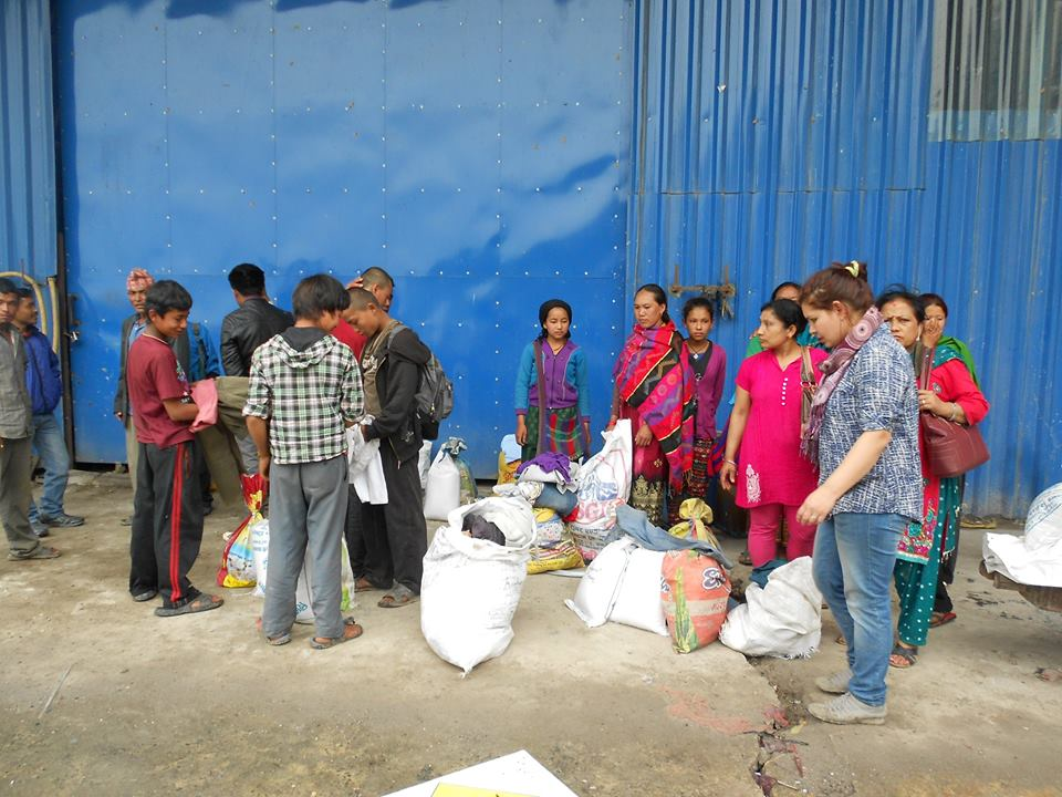 Team of blind rocks with sacs of food material