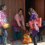Sristi and team at door steps of earthquake victim with relief material