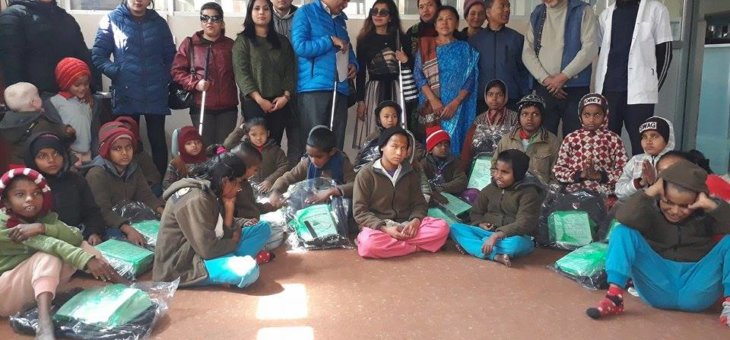 Bags and stationary material distribution to the seventeen deaf children of BP eye foundation