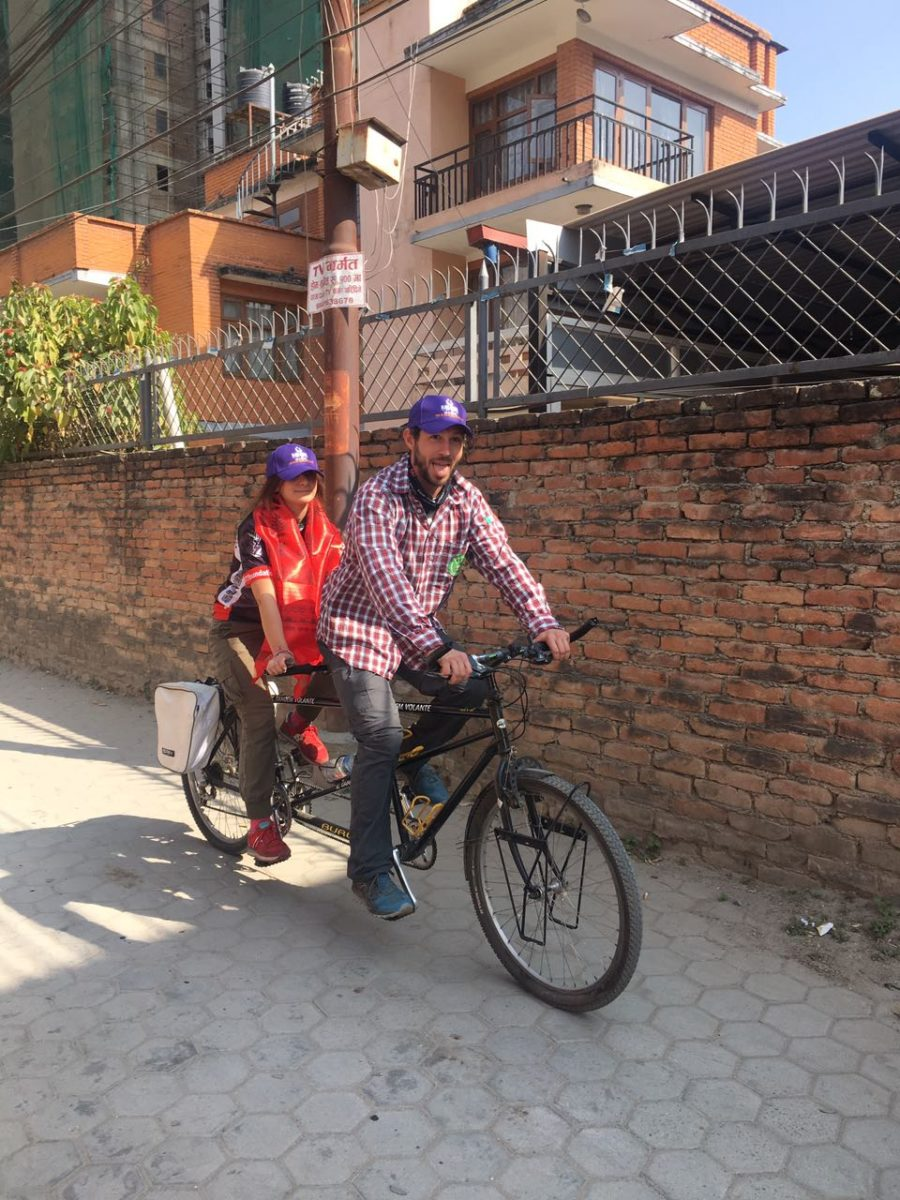 Diego and Cassandra arrives to donate bike